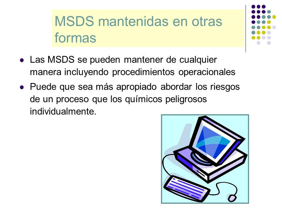 MSDS mantenidas en otras formas