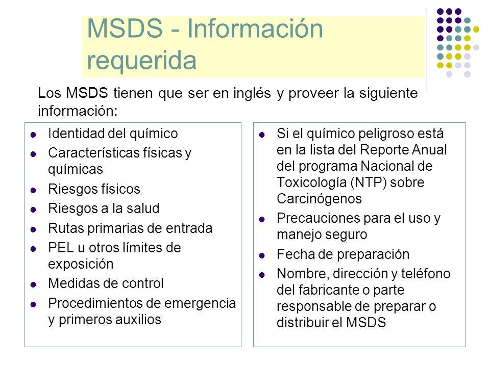 MSDS - Información requerida