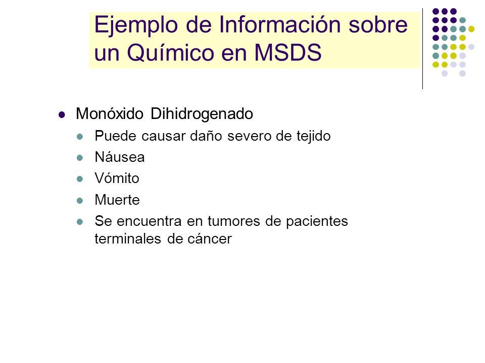 Ejemplo de Información sobre un Químico en MSDS