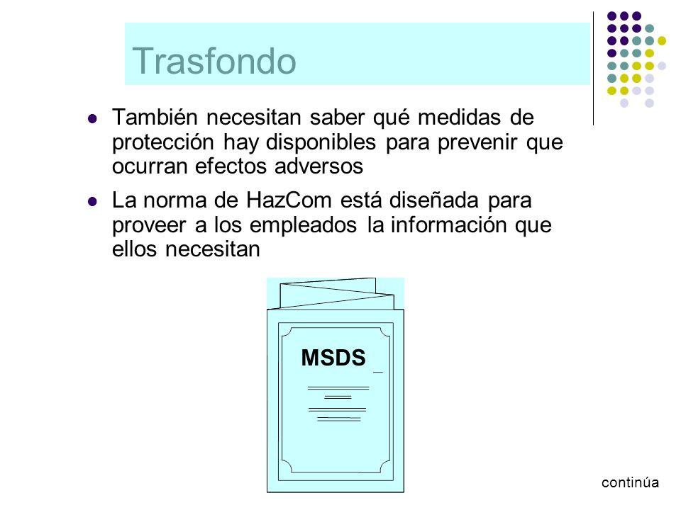 Trasfondo También necesitan saber qué medidas de protección hay disponibles para prevenir que ocurran efectos adversos.