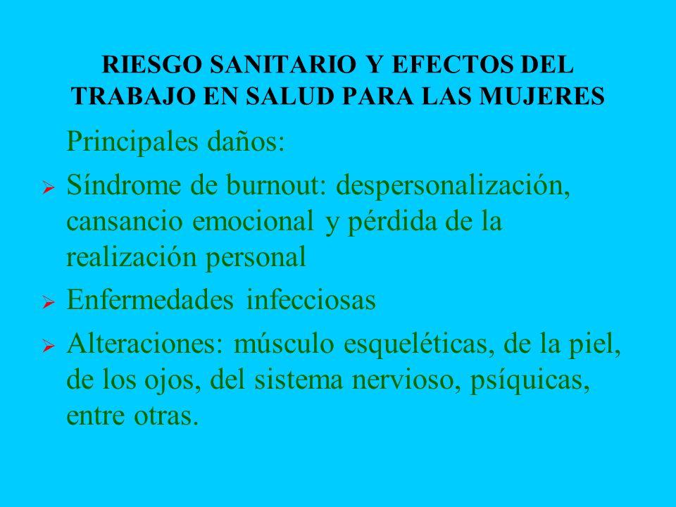 RIESGO SANITARIO Y EFECTOS DEL TRABAJO EN SALUD PARA LAS MUJERES