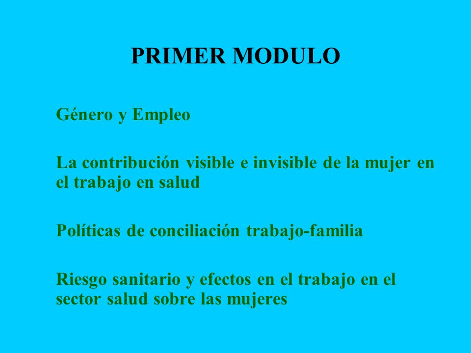 PRIMER MODULO Género y Empleo