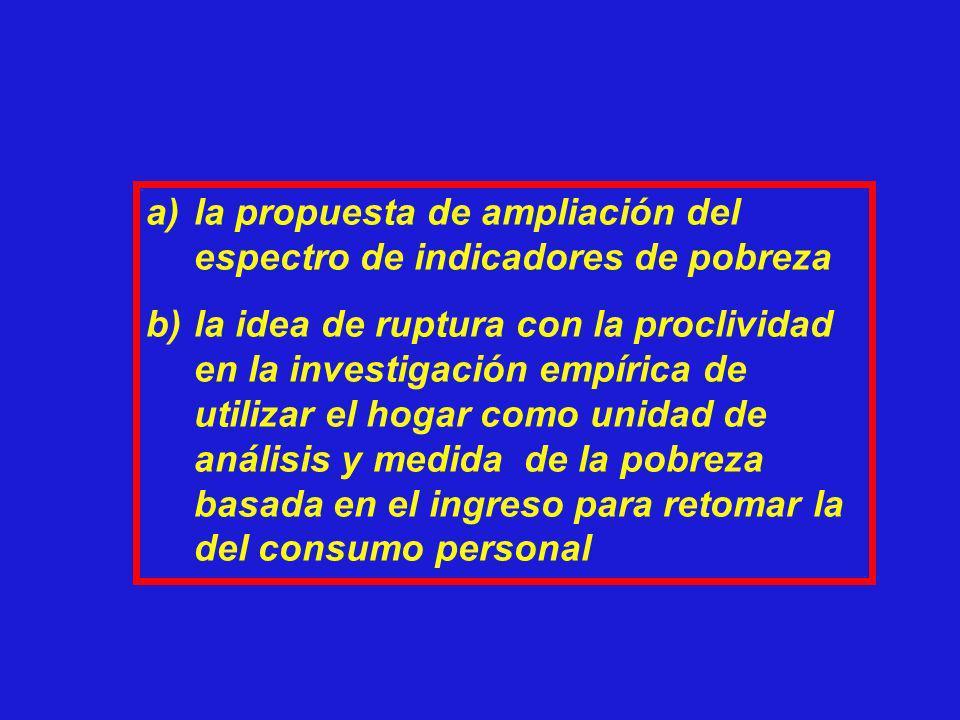 la propuesta de ampliación del espectro de indicadores de pobreza