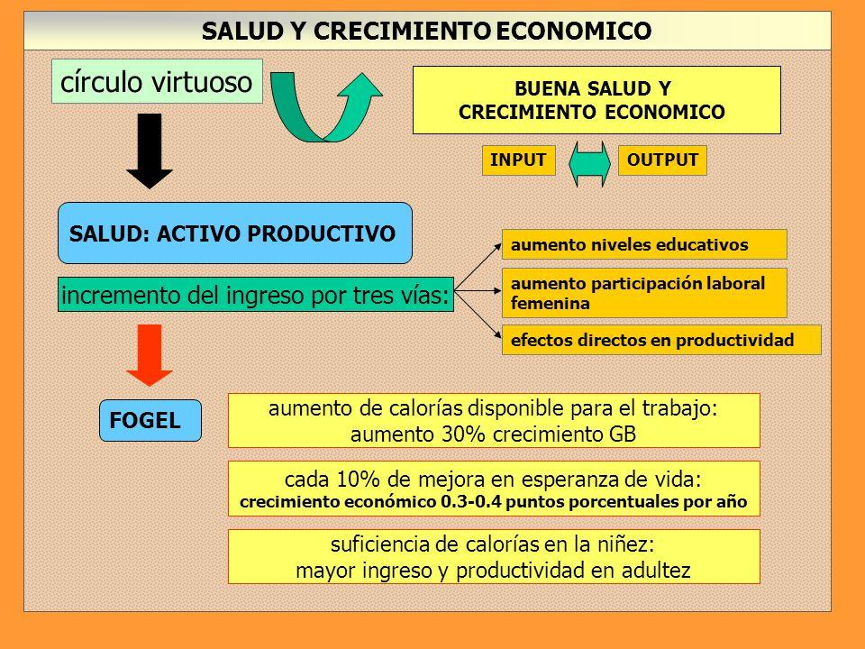 círculo virtuoso SALUD Y CRECIMIENTO ECONOMICO