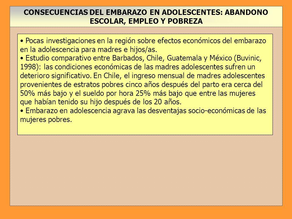 CONSECUENCIAS DEL EMBARAZO EN ADOLESCENTES: ABANDONO ESCOLAR, EMPLEO Y POBREZA