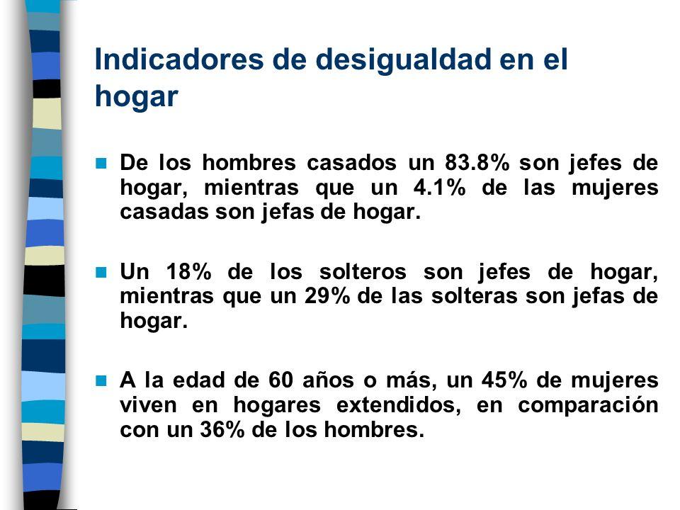 Indicadores de desigualdad en el hogar