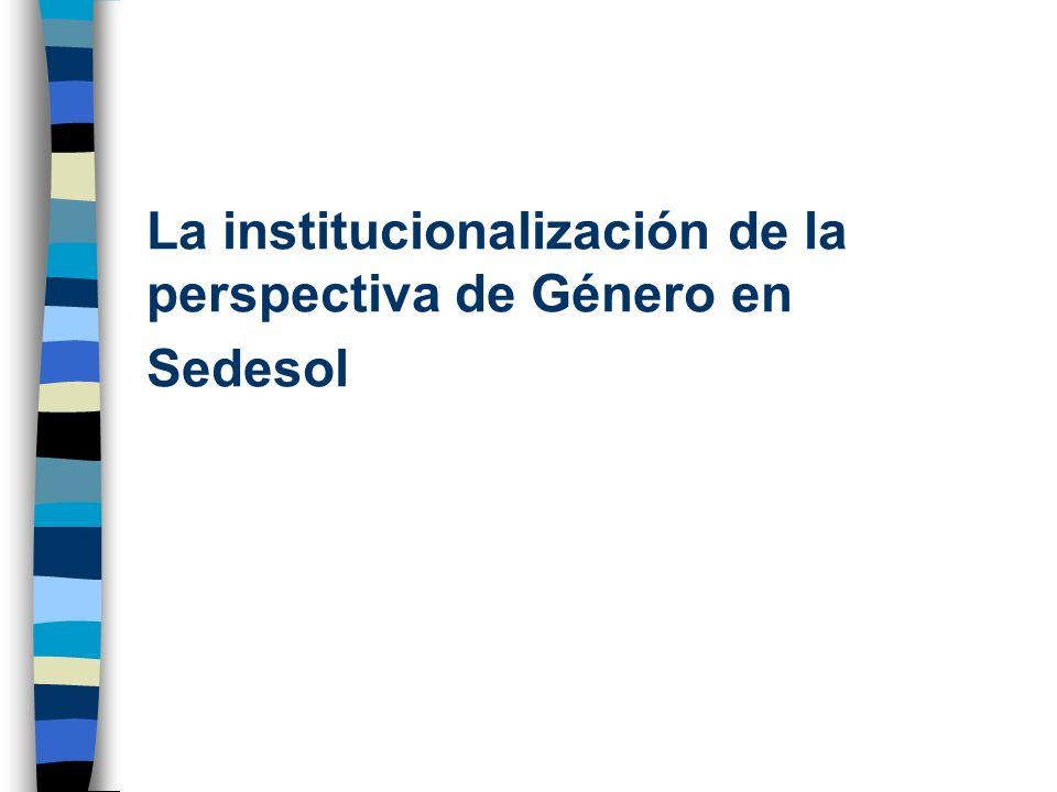 La institucionalización de la perspectiva de Género en Sedesol