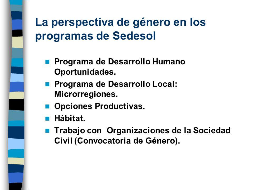 La perspectiva de género en los programas de Sedesol