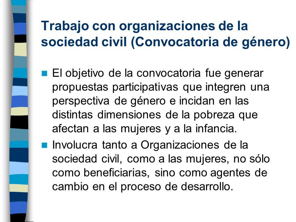 Trabajo con organizaciones de la sociedad civil (Convocatoria de género)