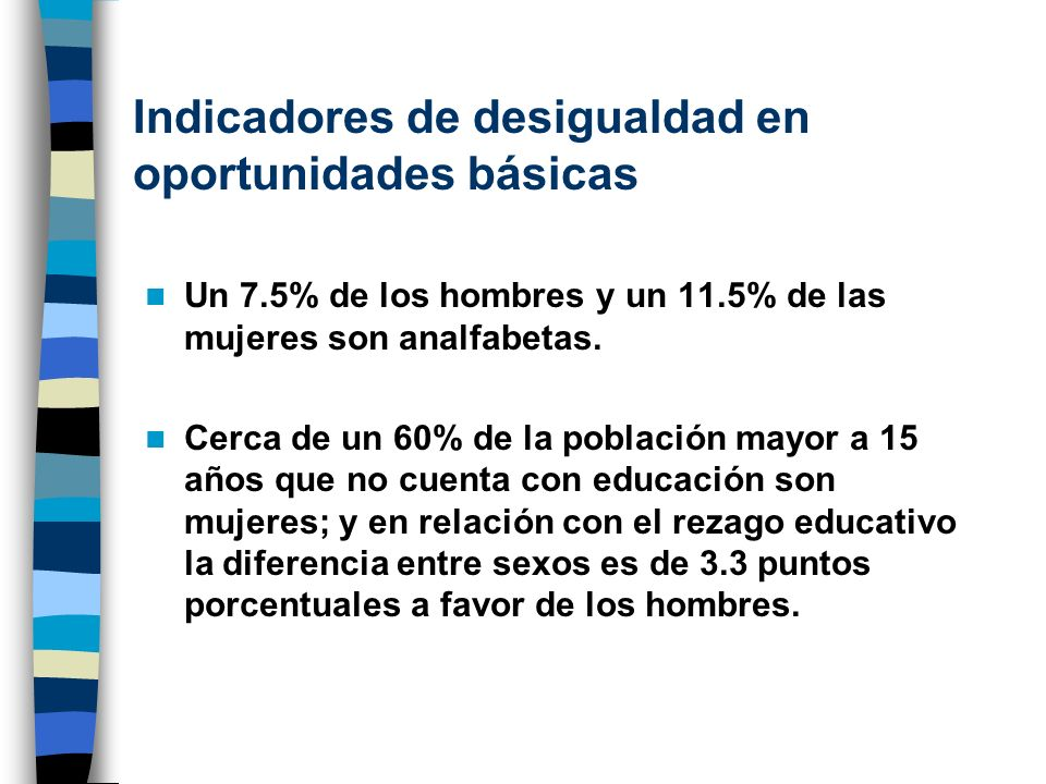 Indicadores de desigualdad en oportunidades básicas