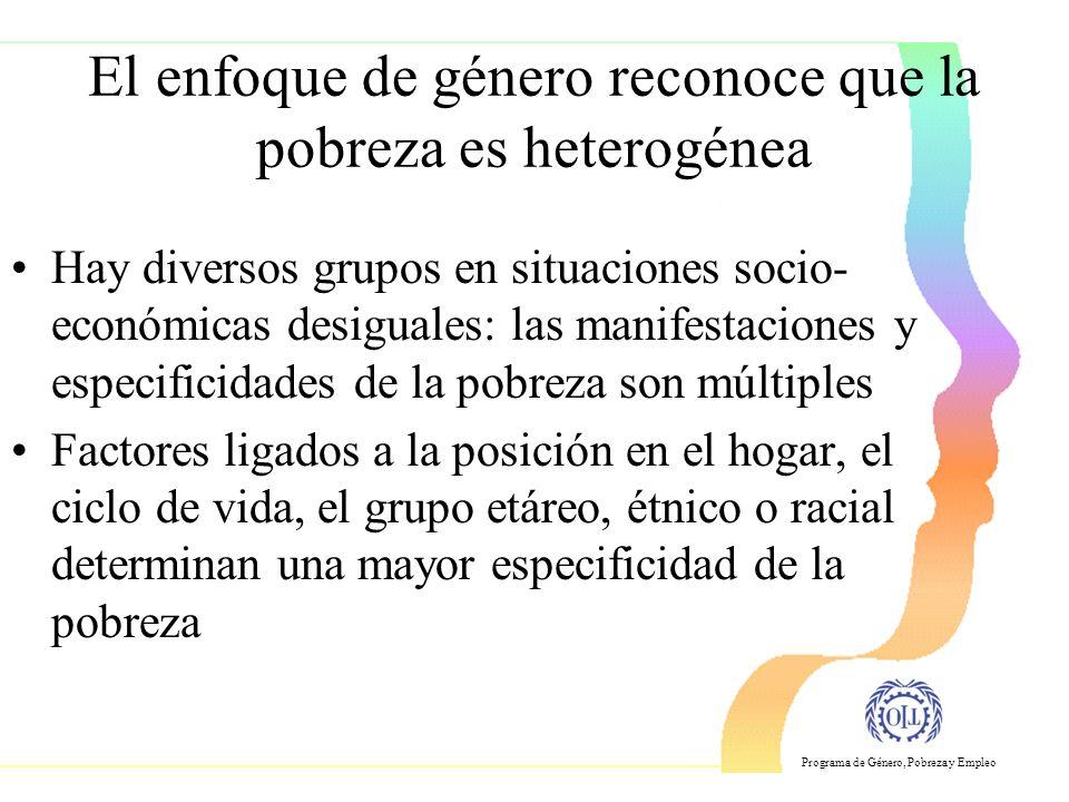 El enfoque de género reconoce que la pobreza es heterogénea