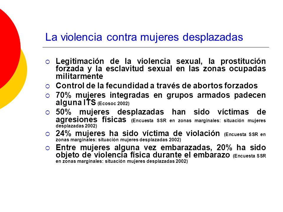 La violencia contra mujeres desplazadas