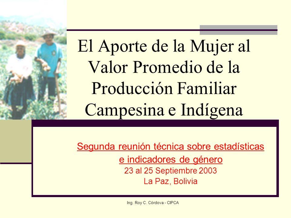 El Aporte de la Mujer al Valor Promedio de la Producción Familiar Campesina e Indígena