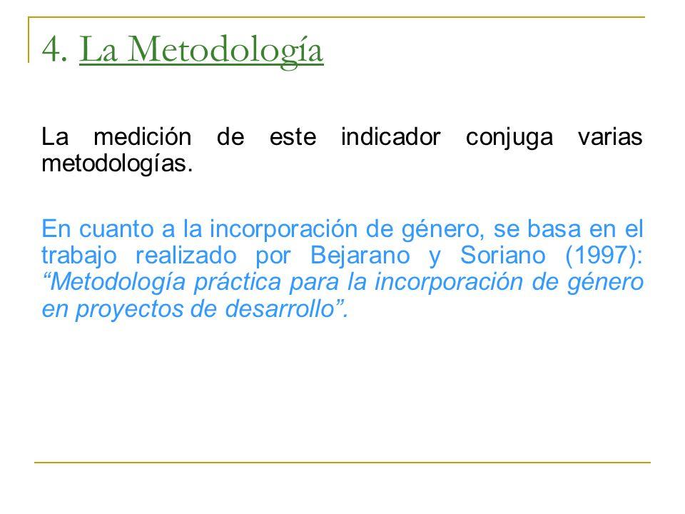 4. La Metodología La medición de este indicador conjuga varias metodologías.