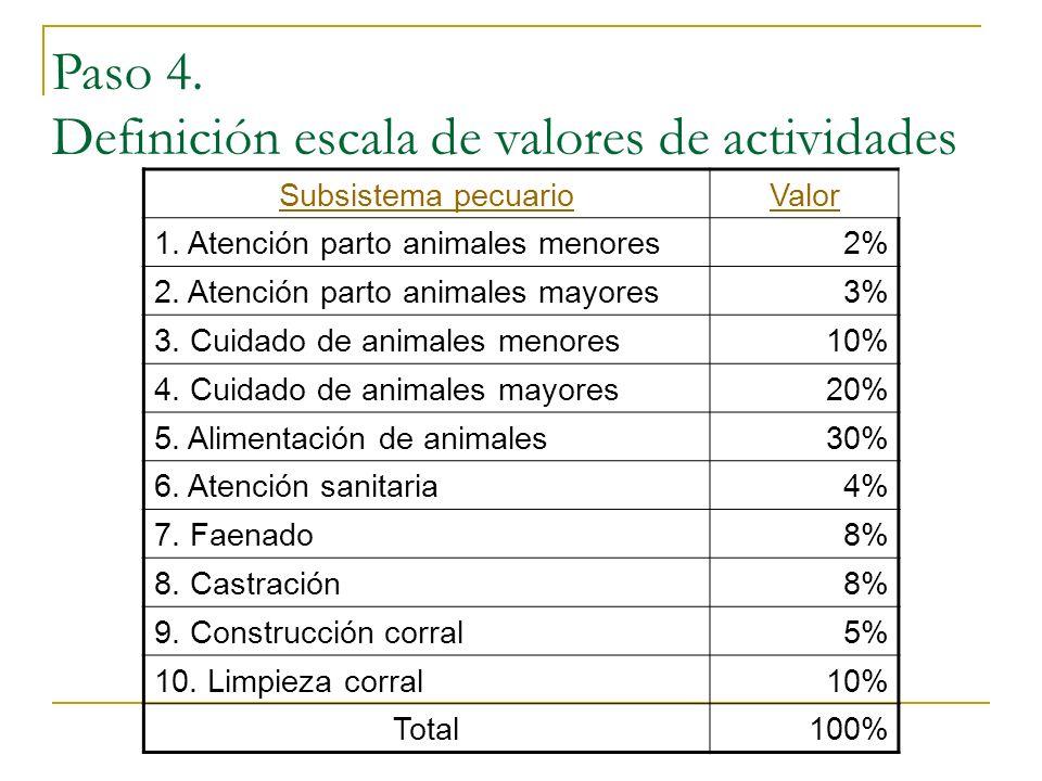 Paso 4. Definición escala de valores de actividades