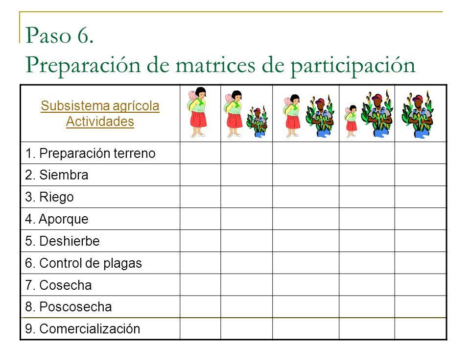 Paso 6. Preparación de matrices de participación
