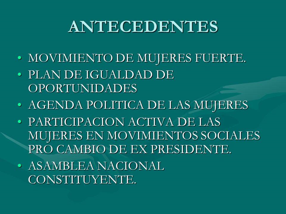 ANTECEDENTES MOVIMIENTO DE MUJERES FUERTE.