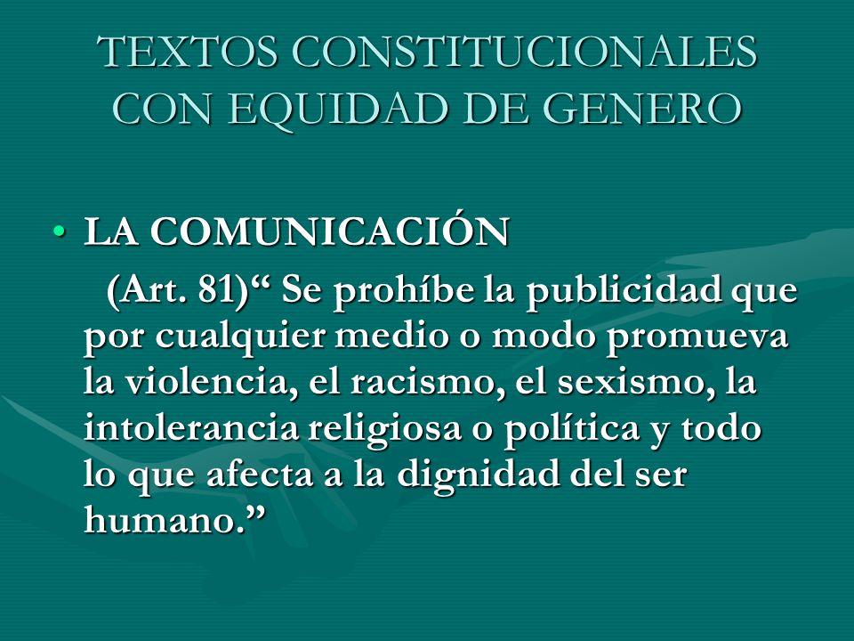 TEXTOS CONSTITUCIONALES CON EQUIDAD DE GENERO