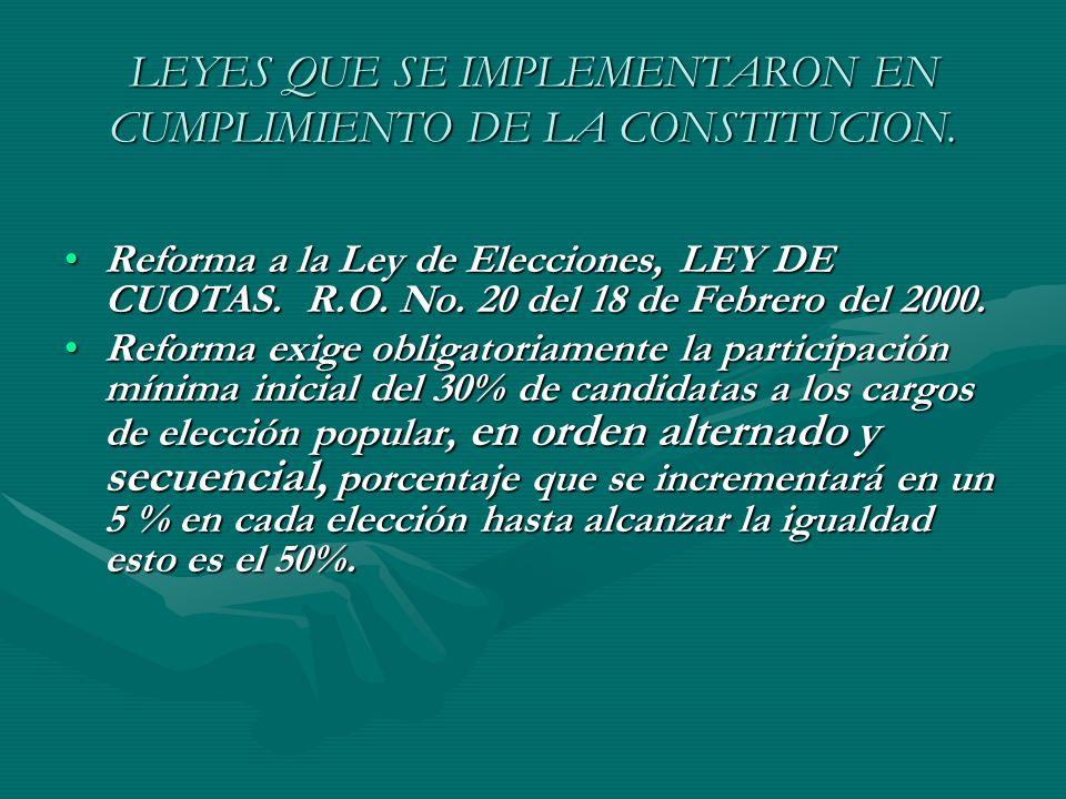 LEYES QUE SE IMPLEMENTARON EN CUMPLIMIENTO DE LA CONSTITUCION.