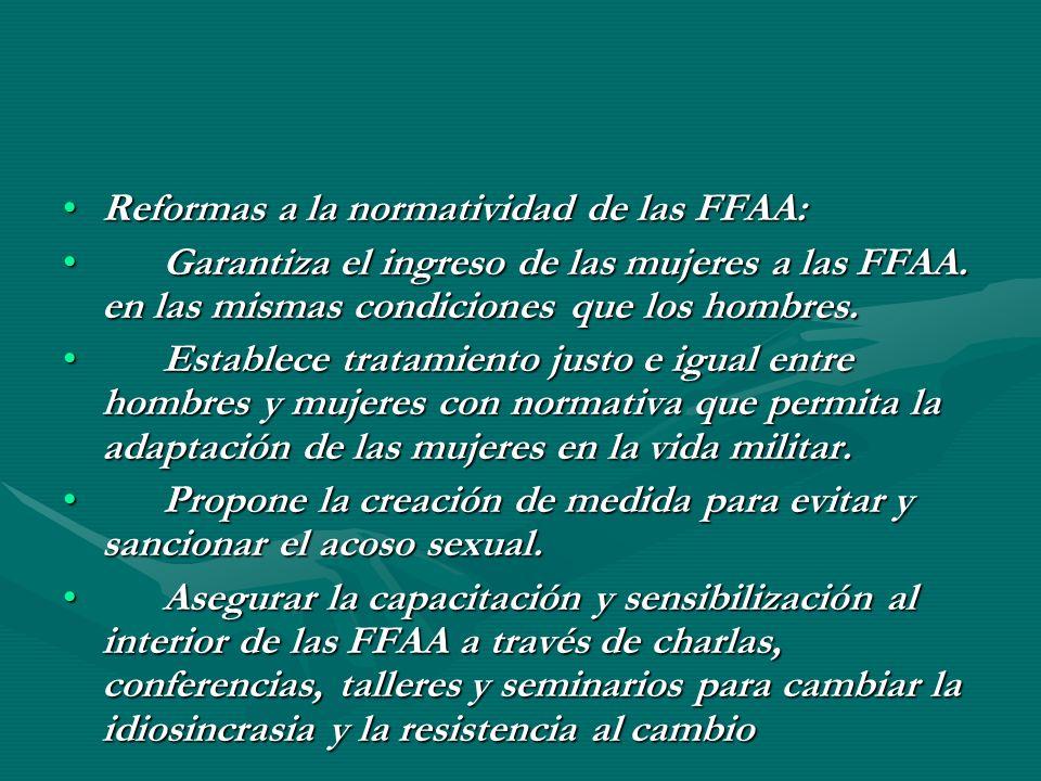 Reformas a la normatividad de las FFAA: