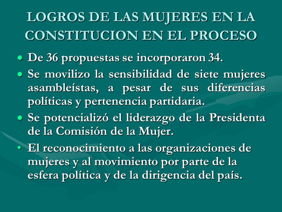 LOGROS DE LAS MUJERES EN LA CONSTITUCION EN EL PROCESO