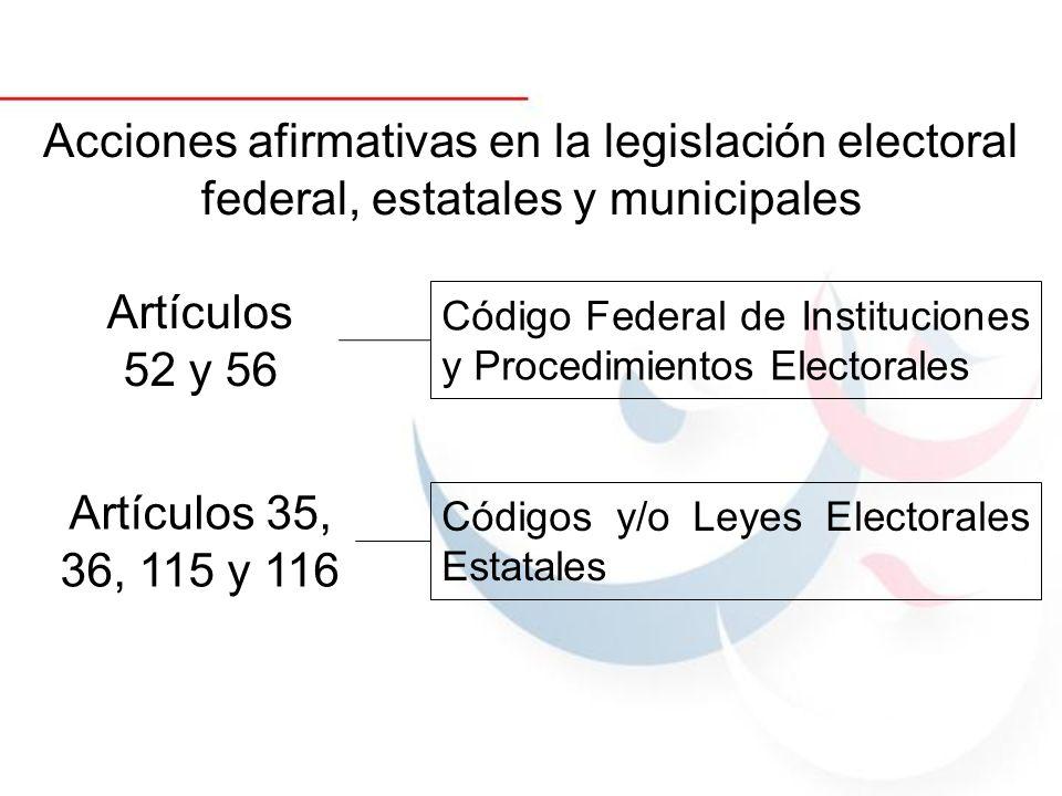 Acciones afirmativas en la legislación electoral federal, estatales y municipales