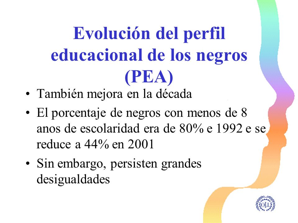 Evolución del perfil educacional de los negros (PEA)
