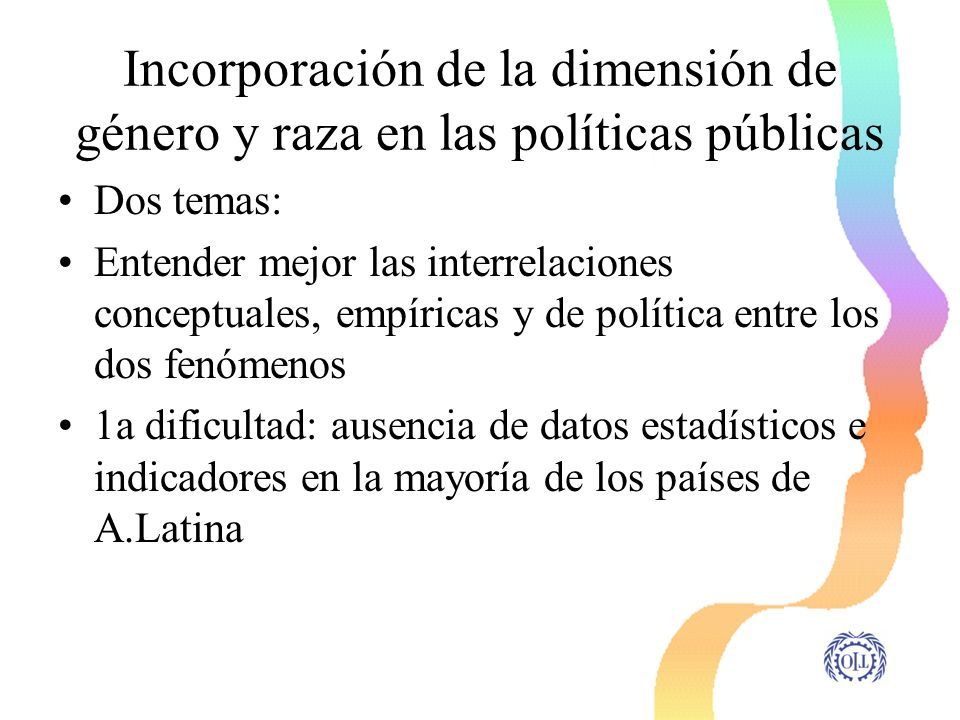 Incorporación de la dimensión de género y raza en las políticas públicas