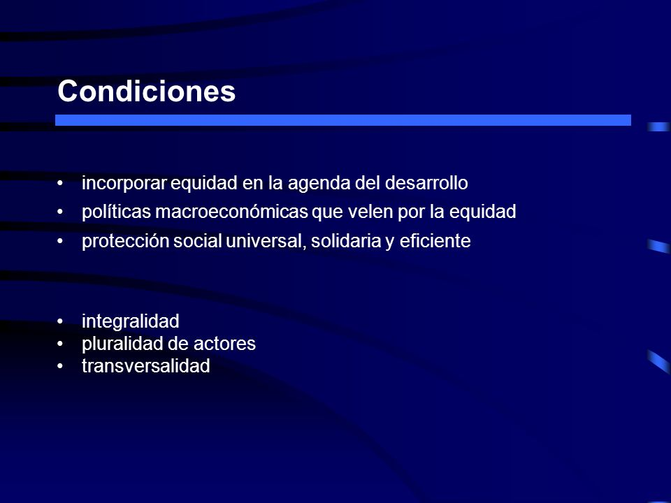 Condiciones incorporar equidad en la agenda del desarrollo