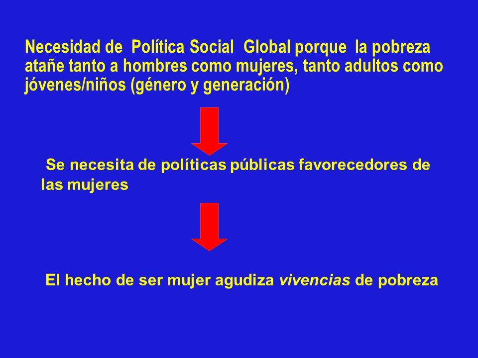 Necesidad de Política Social Global porque la pobreza atañe tanto a hombres como mujeres, tanto adultos como jóvenes/niños (género y generación)
