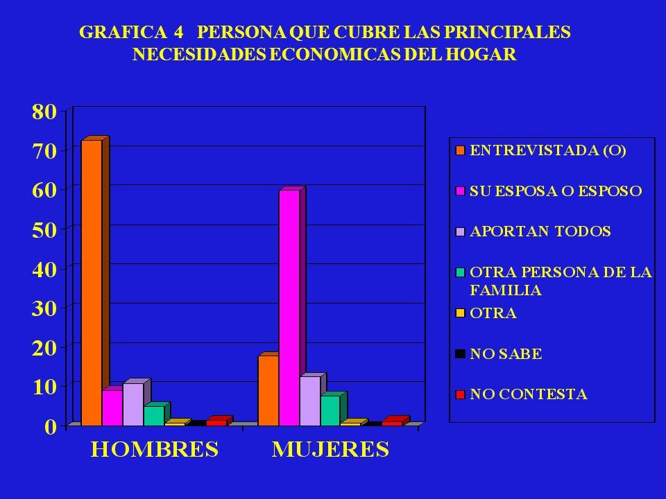 GRAFICA 4 PERSONA QUE CUBRE LAS PRINCIPALES NECESIDADES ECONOMICAS DEL HOGAR