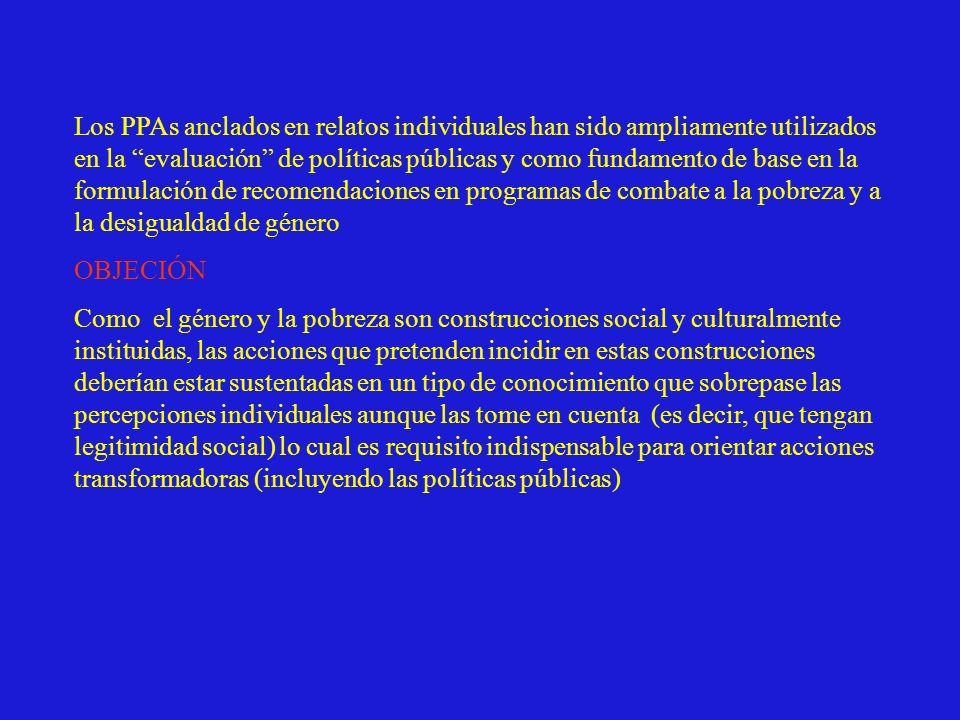Los PPAs anclados en relatos individuales han sido ampliamente utilizados en la evaluación de políticas públicas y como fundamento de base en la formulación de recomendaciones en programas de combate a la pobreza y a la desigualdad de género