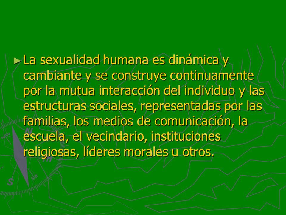 La sexualidad humana es dinámica y cambiante y se construye continuamente por la mutua interacción del individuo y las estructuras sociales, representadas por las familias, los medios de comunicación, la escuela, el vecindario, instituciones religiosas, líderes morales u otros.