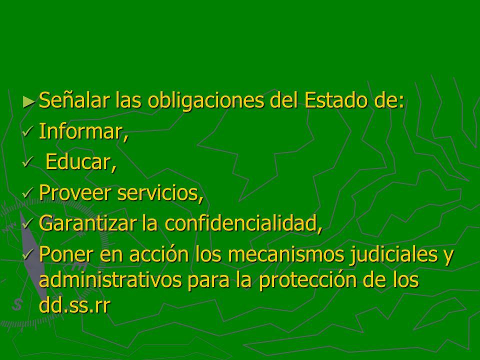 Señalar las obligaciones del Estado de: