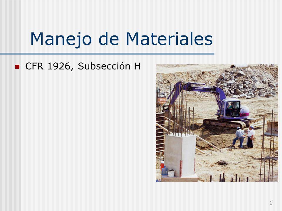 Manejo de Materiales CFR 1926, Subsección H