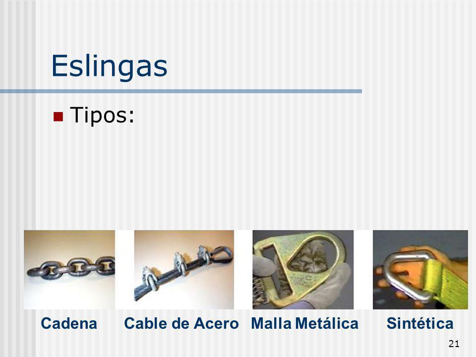 Eslingas Tipos: Cadena Cable de Acero Malla Metálica Sintética
