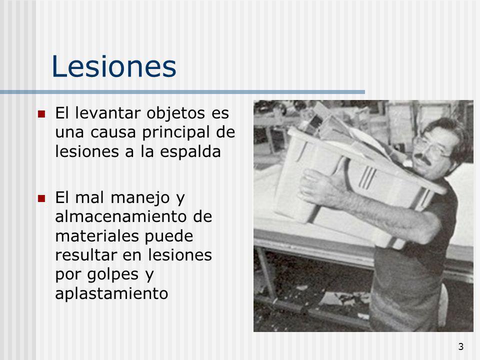 LesionesEl levantar objetos es una causa principal de lesiones a la espalda.