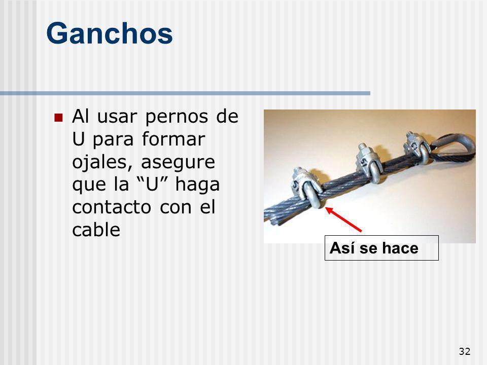 GanchosAl usar pernos de U para formar ojales, asegure que la U haga contacto con el cable. 1926.251(c)(5)(i) and 1926.251(c)(4)(iii)