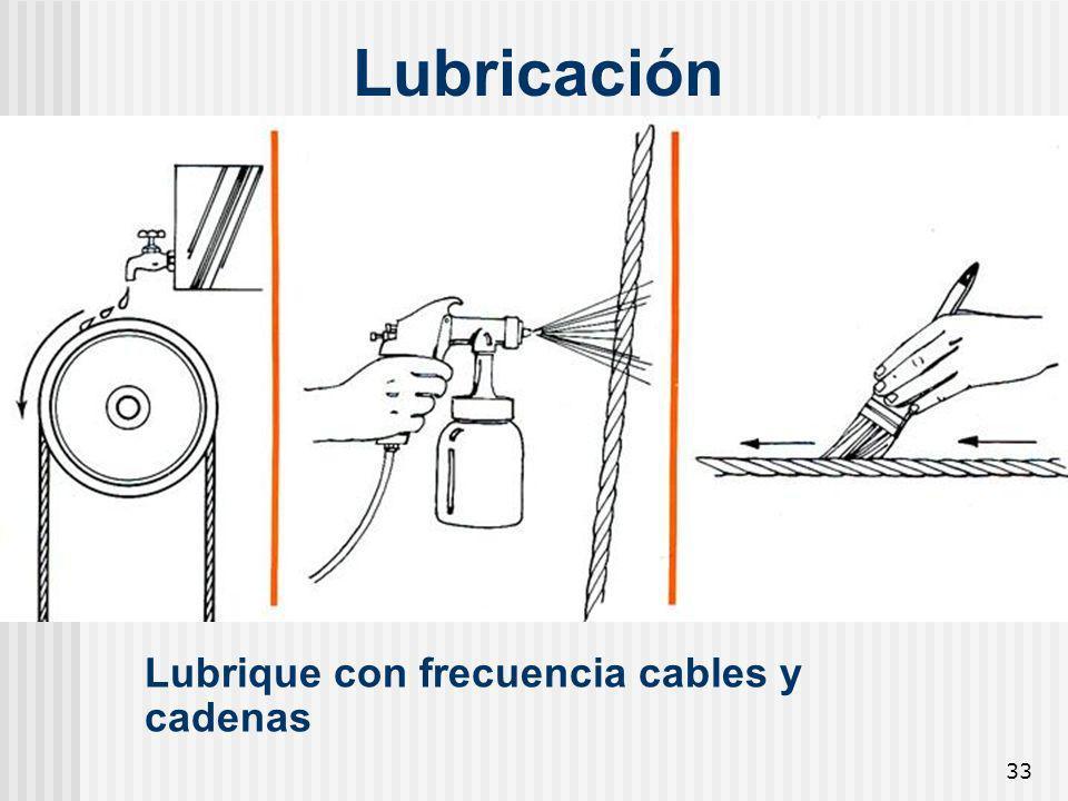Lubricación Lubrique con frecuencia cables y cadenas