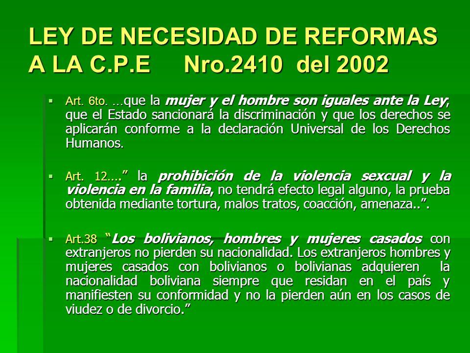 LEY DE NECESIDAD DE REFORMAS A LA C.P.E Nro.2410 del 2002