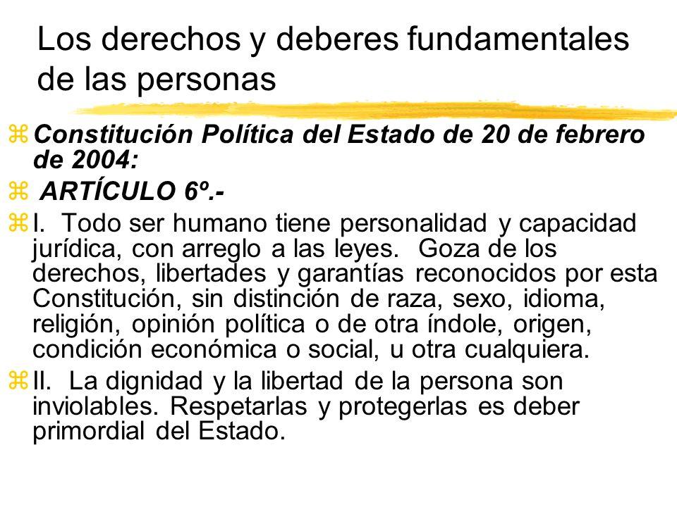 Los derechos y deberes fundamentales de las personas