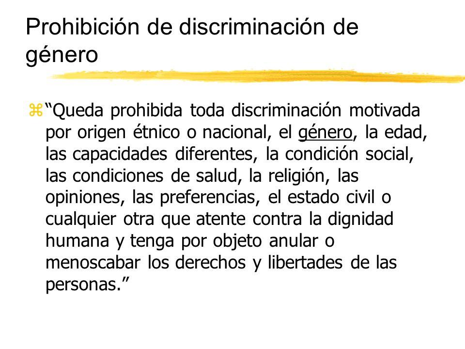 Prohibición de discriminación de género