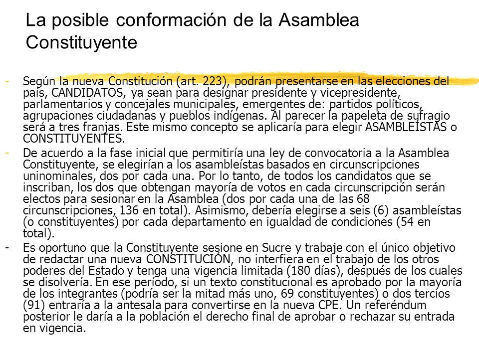 La posible conformación de la Asamblea Constituyente