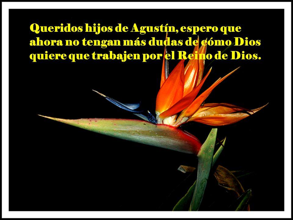 Queridos hijos de Agustín, espero que ahora no tengan más dudas de cómo Dios quiere que trabajen por el Reino de Dios.