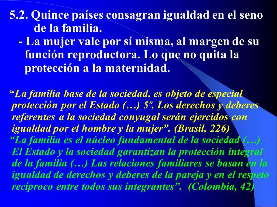 5.2. Quince países consagran igualdad en el seno de la familia.