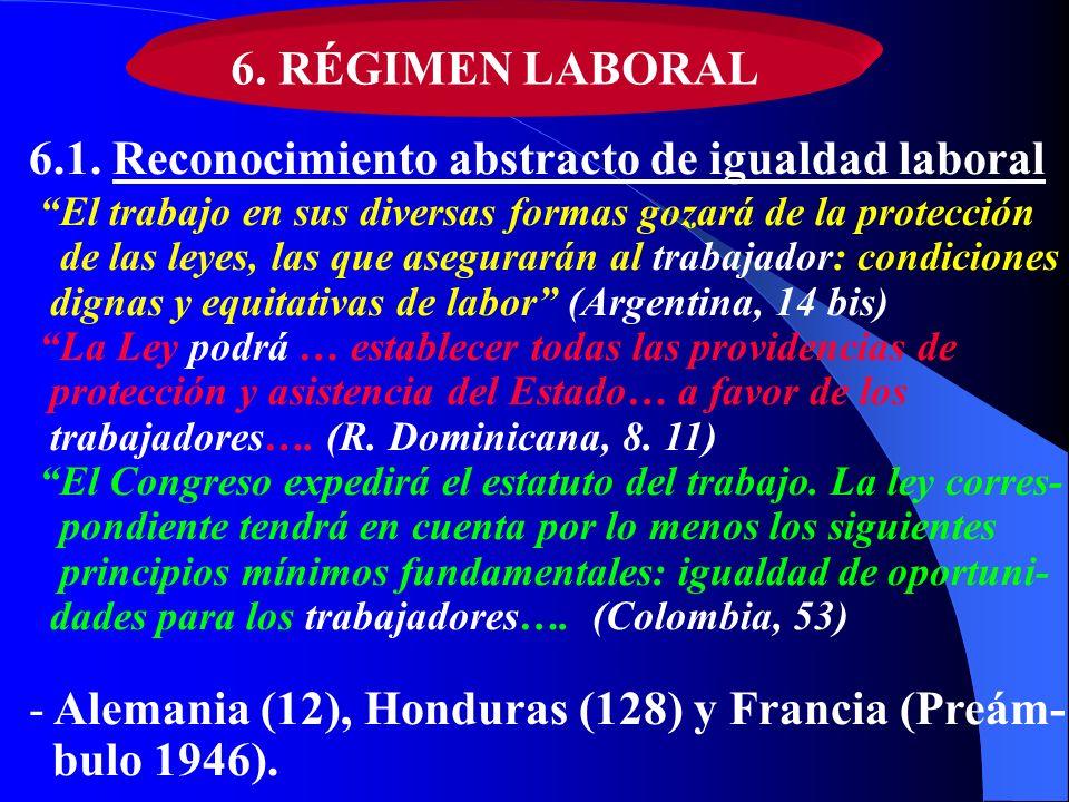 6.1. Reconocimiento abstracto de igualdad laboral