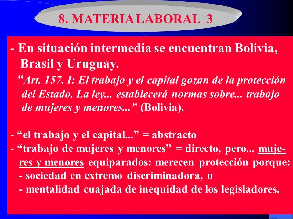 - En situación intermedia se encuentran Bolivia, Brasil y Uruguay.