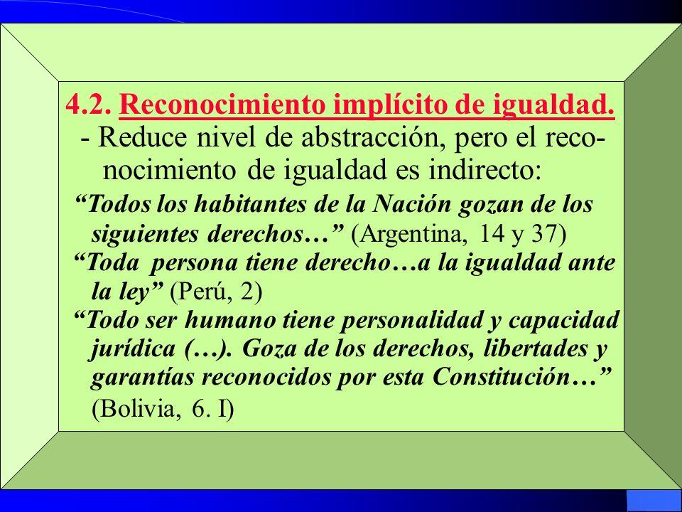 4.2. Reconocimiento implícito de igualdad.