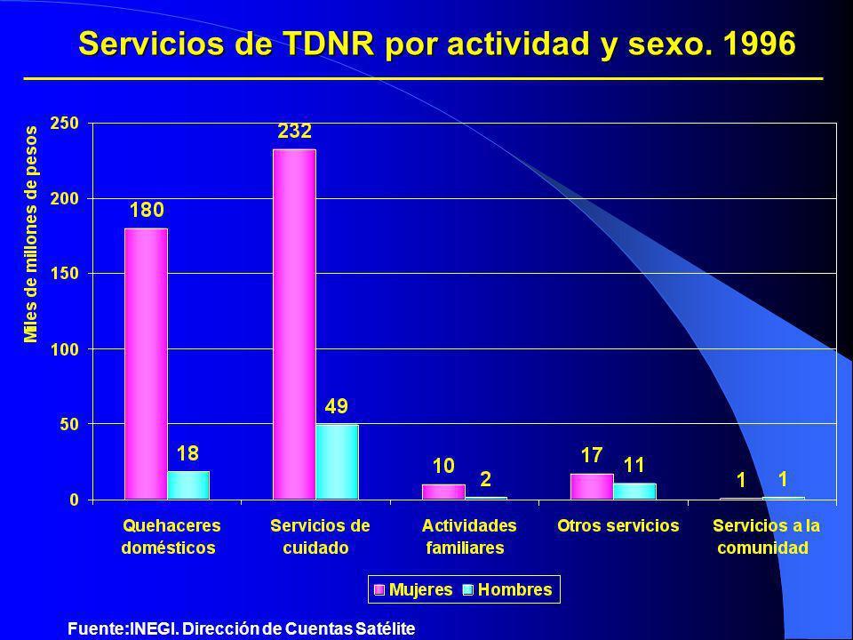 Servicios de TDNR por actividad y sexo. 1996