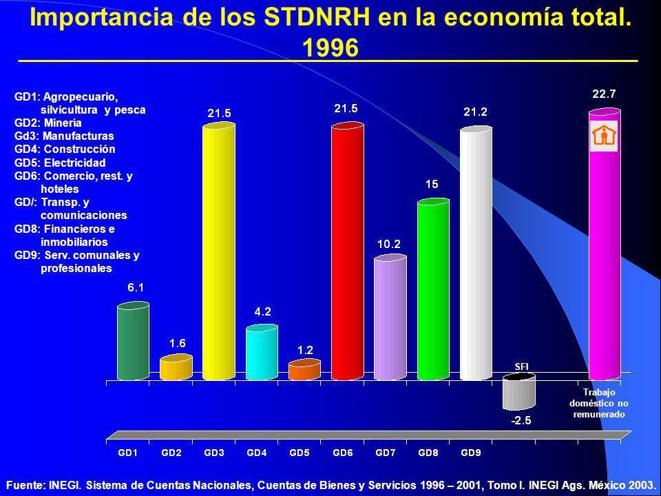 Importancia de los STDNRH en la economía total. 1996